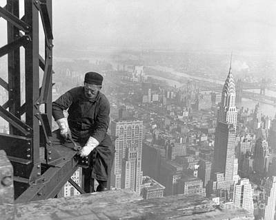 A Worker Bolts Beams During Construction Print by Lewis Wickes Hine