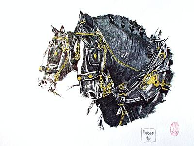 Draft Horses Drawing - A Working Pair by Pg Reproductions