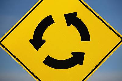 Directional Signage Photograph - A Yellow Sign Showing Three Arrows by Michael Interisano
