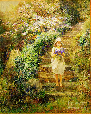 A Young Girl Carrying Violets Print by Celestial Images