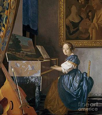 A Young Lady Seated At A Virginal Print by Jan Vermeer
