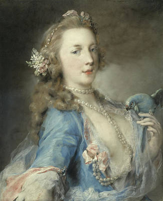 A Young Lady With A Parrot Print by Rosalba Giovanna Carriera