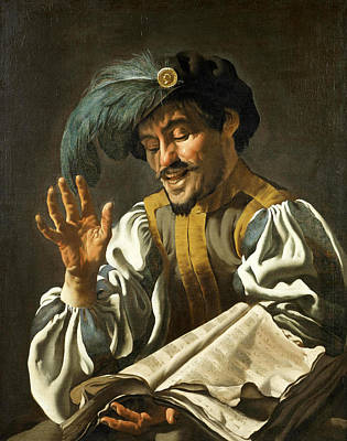 Dirck Van Baburen Painting - A Young Man Singing 2 by Dirck van Baburen