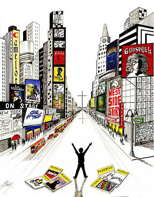 Times Square Drawing - A Young Man's Dream by Marilyn Smith