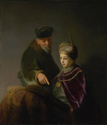 Education Painting - A  Young Scholar And His Tutor by Workshop of Rembrandt Harmensz