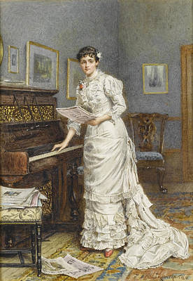 A Young Woman At A Piano Print by George Goodwin