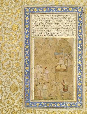 Youthful Painting - A Youthful Mughal Prince Receiving A Messag by Celestial Images
