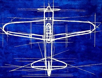 Cockpit Drawing - A6m Zero Blueprint by R Kyllo