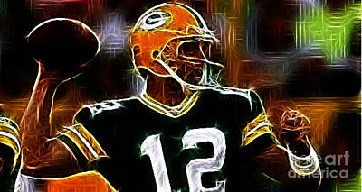 Aaron Rodgers - Green Bay Packers Print by Paul Ward