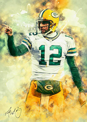 Nfl Art Painting - Aaron Rodgers by Taylan Apukovska