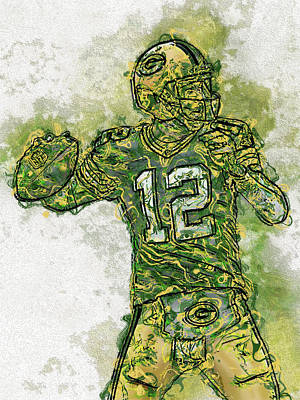 Aaron Rodgers Green Bay Packers Print by Jack Zulli