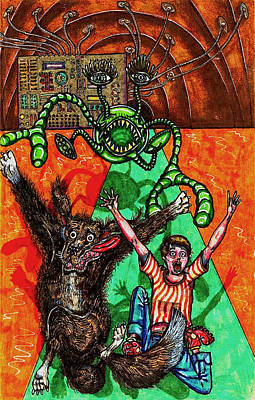 Adversary Drawing - Aarron And Spacedog Chased By An Alien by Al Goldfarb