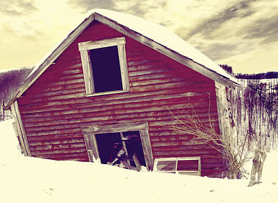 Red Barn In Winter Painting - Abandoned Barn by Mindy Sommers