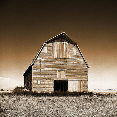 Abandoned Barn Sepia Toned Print by Donald  Erickson