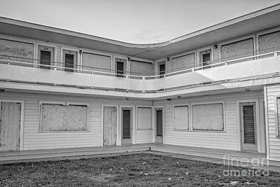 Abandoned Beach Motel Black And White Print by Edward Fielding