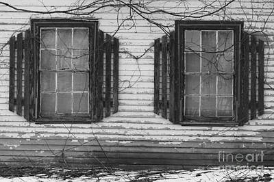 Maine Farmhouse Photograph - Abandoned Black And White by Katie W