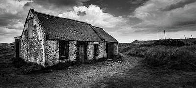 Black And White Old House Photograph - Abandoned Bothy by Dave Bowman