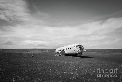 Abandoned Air Plane Photograph - Abandoned Dc 3 Plane In Iceland Bw by Michael Ver Sprill