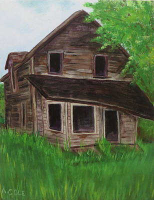 Abandoned Farm House Painting - Abandoned Farmhouse On The Trans-canada Highway by Andrea Cole