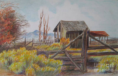 Ghost Towns Drawing - Abandoned  by Jeanette Skeem