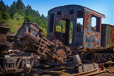 Component Photograph - Abandoned Train Engine by Garry Gay