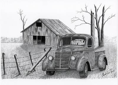 Old Barn Drawing - Abandoned Truck Outside The Fence by Claude Prud' homme