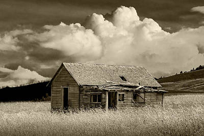 Abandoned Western Farmhouse In Sepia Tone Print by Randall Nyhof