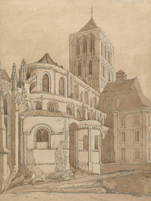Fecamp Drawing - Abbey Church At Fecamp, Normandy by John Sell Cotman