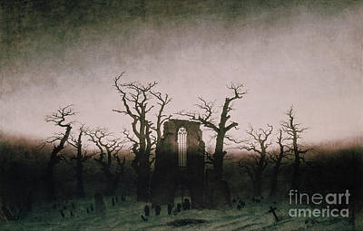 Caspar Painting - Abbey In The Oakwood by Caspar David Friedrich