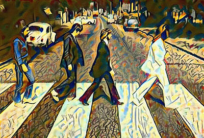 Mccartney Digital Art - Abbey Road Watercolor by Bill Cannon