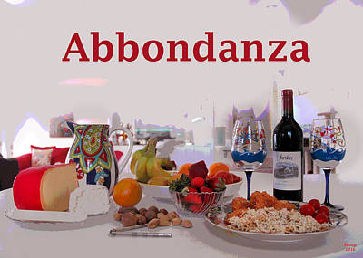 Glass Of Wine Mixed Media - Abbondanza by Charles Shoup