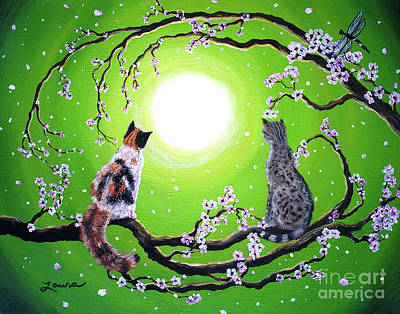 Gray Tabby Painting - Abby And Caesar In The Spring by Laura Iverson
