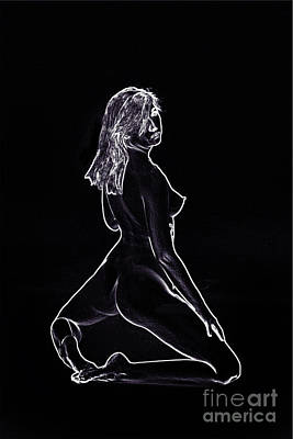 Model 3001 Fine Art Nude Drawings In Black And White 1080.01 Print by Kendree Miller