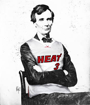 Dwyane Drawing - Abe Lincoln In A Dwyane Wade Jersey by Roly Orihuela