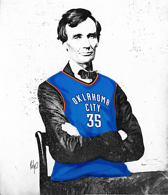 Thunder Drawing - Abe Lincoln In An Kevin Durant Okc Thunder Jersey by Roly Orihuela