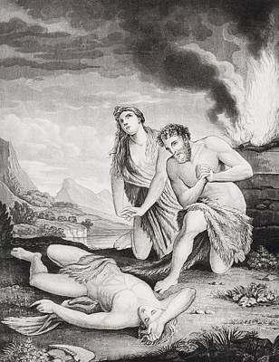 Bible Drawing - Abel Murdered By His Brother Cain 19th by Vintage Design Pics