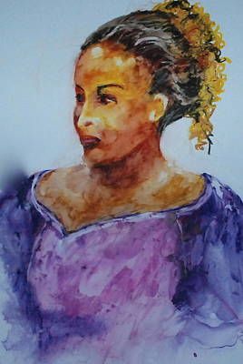 Wet Into Wet Watercolor Painting - Abigail by Donna Pierce-Clark