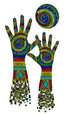 Reaching Up Digital Art - Aboriginal Hands Gold Transparent Background by Barbara St Jean