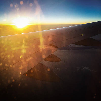 Airplane Photograph - Above The Clouds 03 Warm Sunlight by Matthias Hauser