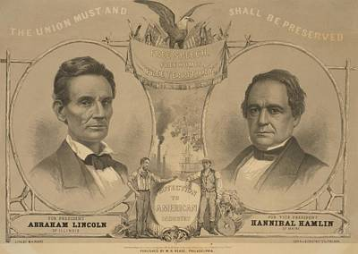 Abraham Lincoln And Hannibal Hamlin Print by Everett
