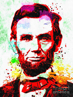 Statesmen Mixed Media - Abraham Lincoln Grunge by Daniel Janda
