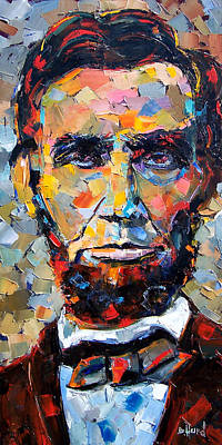 Largemouth Bass Painting - Abraham Lincoln Portrait by Debra Hurd