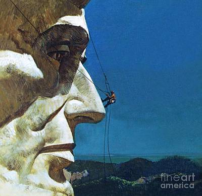 Mount Rushmore Painting - Abraham Lincoln's Nose On The Mount Rushmore National Memorial  by English School