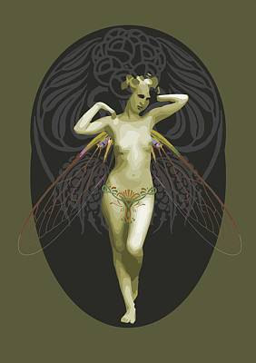Absinthe Drawing - Absinthe Fairy  by Joaquin Abella