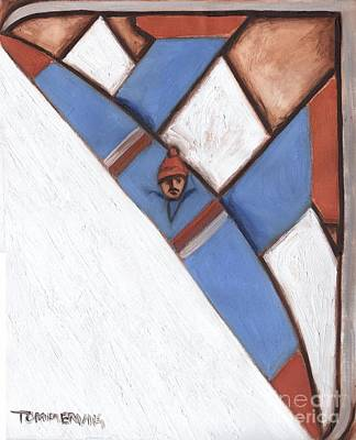 Abstract Alpine Skier Print by Interesting Paintings -Tommervik