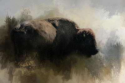 Abstract American Bison Print by Jai Johnson