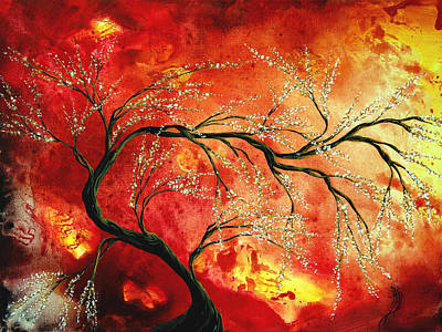 Abstract Art Floral Tree Landscape Painting Fresh Blossoms By Madart Print by Megan Duncanson