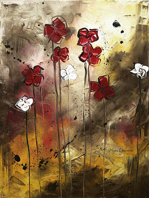 Abstract Art Original Flower Painting Floral Arrangement By Madart Print by Megan Duncanson