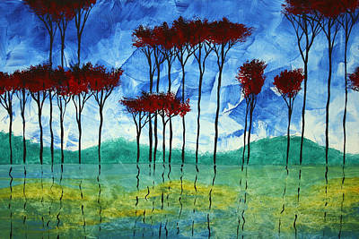 Abstract Art Original Landscape Painting Reflective Beauty By Madart Print by Megan Duncanson