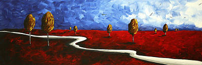 Deep Sky Painting - Abstract Art Original Landscape Painting Winding Road By Madart by Megan Duncanson